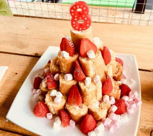 ロールケーキタワー バースデーパーティ 誕生会 ケーキ 8歳